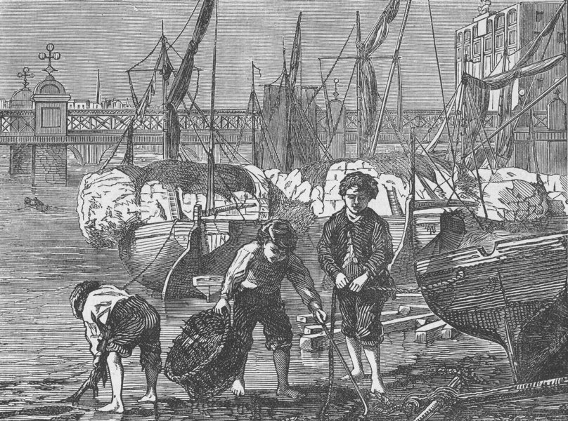 Associate Product THE RIVER THAMES. On the Thames at low water. London c1880 old antique print