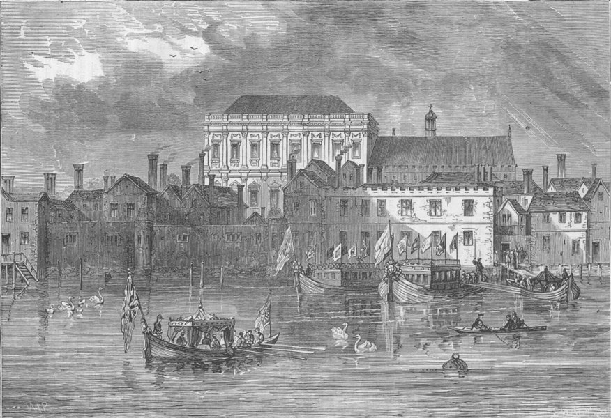 Associate Product THE RIVER THAMES. Old Whitehall Palace, from the river. London c1880 print