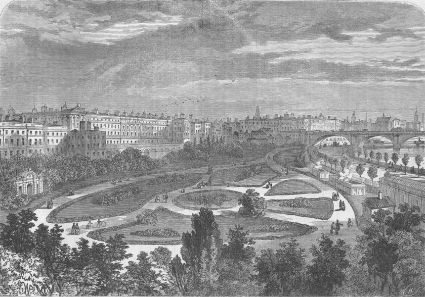Associate Product THE RIVER THAMES. The embankment, from Charing Cross Bridge. London c1880