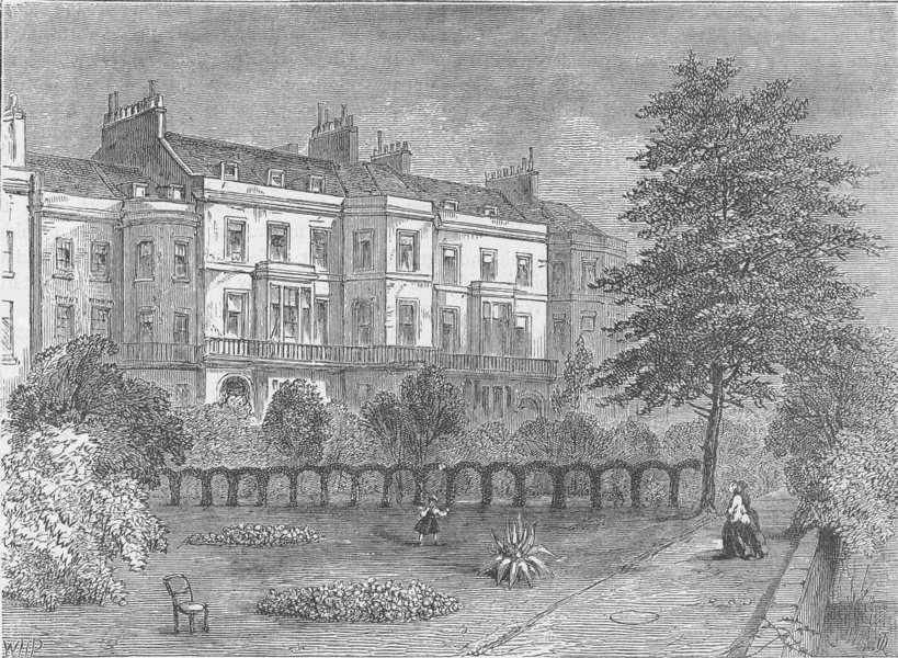 Associate Product THE VICTORIA EMBANKMENT. Whitehall gardens, from the river. London c1880 print