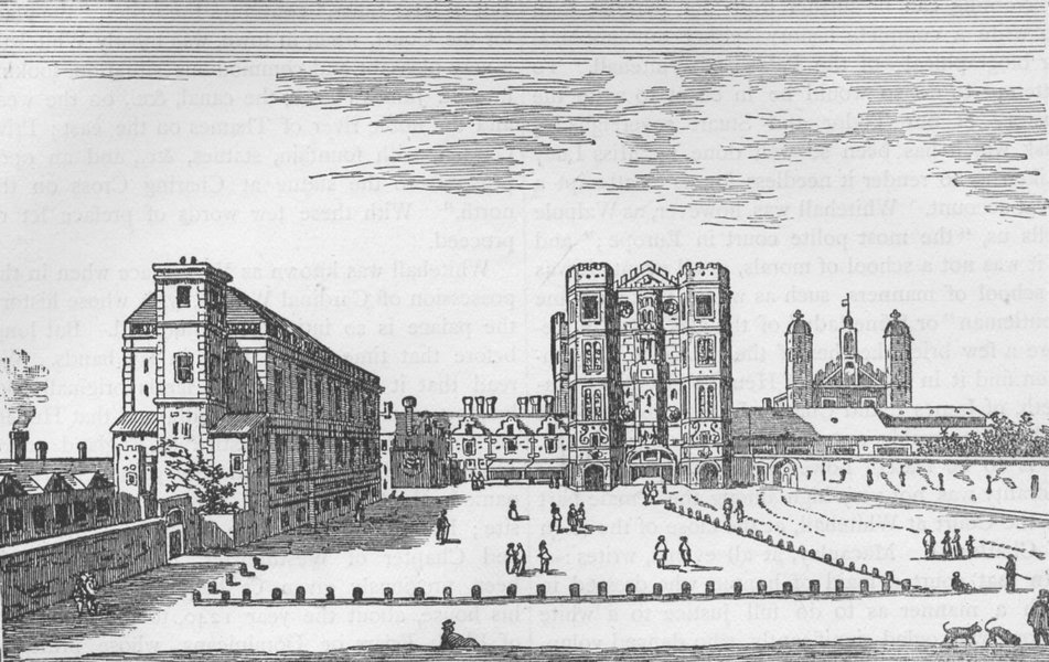 Associate Product WHITEHALL. Whitehall, about 1650 (after Israel Silvestre). London c1880 print