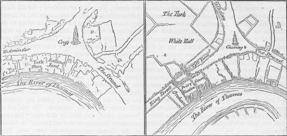 Associate Product WHITEHALL. York Place & Whitehall in the reign of Henry VIII. London c1880 map