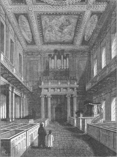 Associate Product WHITEHALL. Interior of the Chapel Royal (Banqueting House), Whitehall c1880