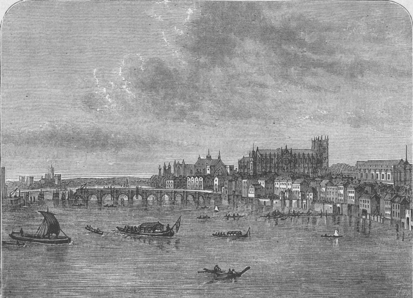Associate Product WHITEHALL. Westminster Bridge (from Canaletti's view). London c1880 old print