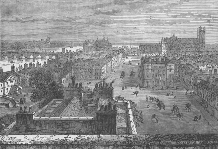Associate Product WHITEHALL. Westminster, from the roof of Whitehall in 1807. London c1880 print