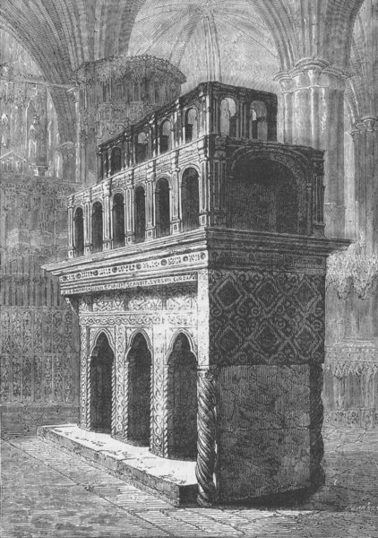 Associate Product WESTMINSTER ABBEY. The tomb of Edward the Confessor. London c1880 old print