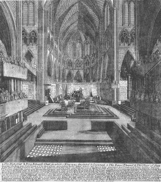 WESTMINSTER ABBEY. Preparations for the coronation of James II in 1685 c1880