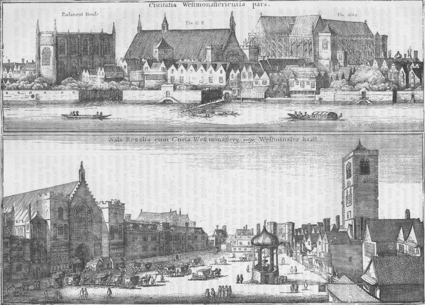 Associate Product WESTMINSTER ABBEY. Two views of Westminster in 1647, from Hollar. London c1880