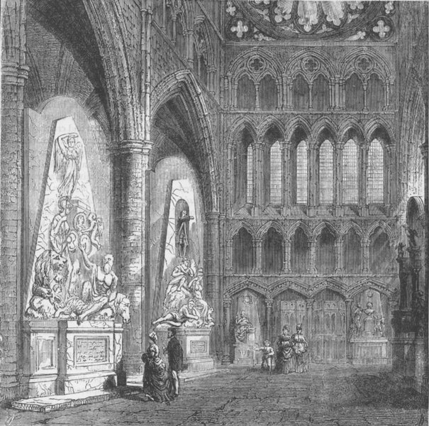 Associate Product WESTMINSTER ABBEY. North transept of Westminster Abbey. London c1880 old print