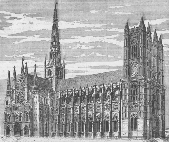 Associate Product WESTMINSTER ABBEY. Sir Christopher Wren's design to complete the Abbey c1880