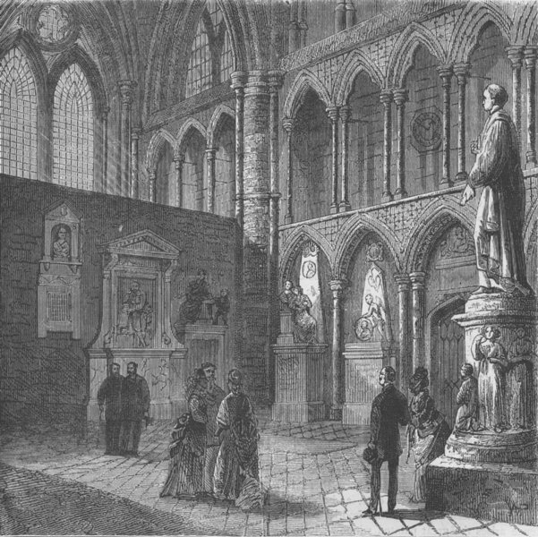 Associate Product WESTMINSTER ABBEY. Poets' corner, Westminster Abbey. London c1880 old print