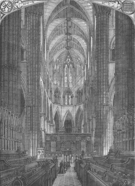 Associate Product WESTMINSTER ABBEY. Westminster Abbey. Interior of the choir. London c1880