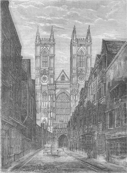 Associate Product WESTMINSTER ABBEY. West front of Westminster Abbey, from Tothill Street c1880