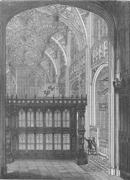 Associate Product WESTMINSTER ABBEY. Entrance to King Henry VII's chapel. London c1880 old print