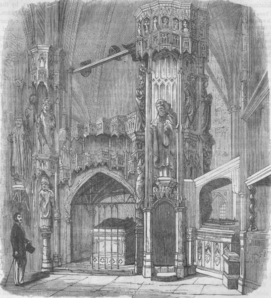 Associate Product WESTMINSTER ABBEY. Chantry of Henry V. London c1880 old antique print picture