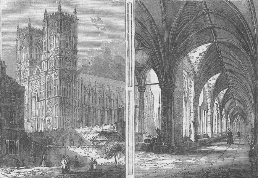Associate Product WESTMINSTER ABBEY. The Western Towers and Cloisters of Westminster Abbey c1880