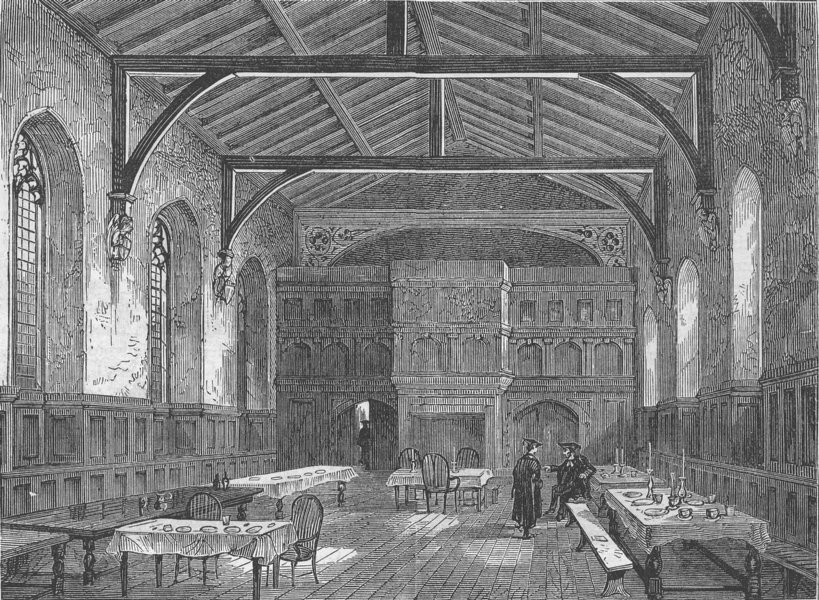 Associate Product WESTMINSTER SCHOOL. The College Hall. London c1880 old antique print picture