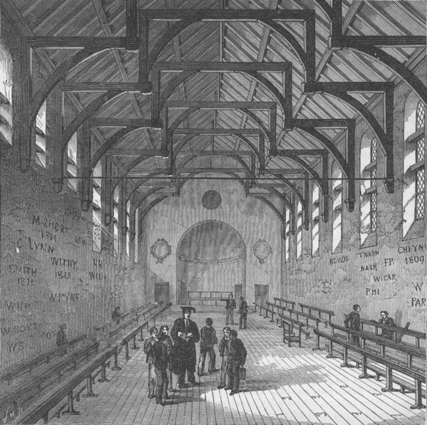 Associate Product WESTMINSTER SCHOOL. The Schoolroom. London c1880 old antique print picture