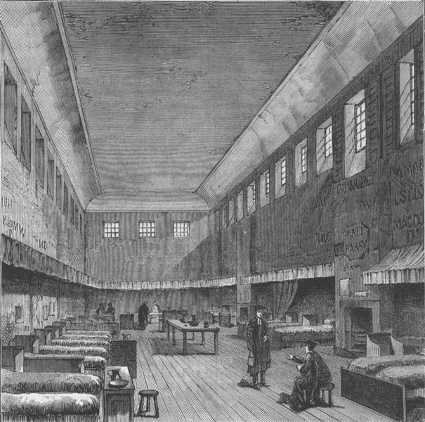 Associate Product WESTMINSTER SCHOOL. The old dormitory, in 1840. London c1880 antique print