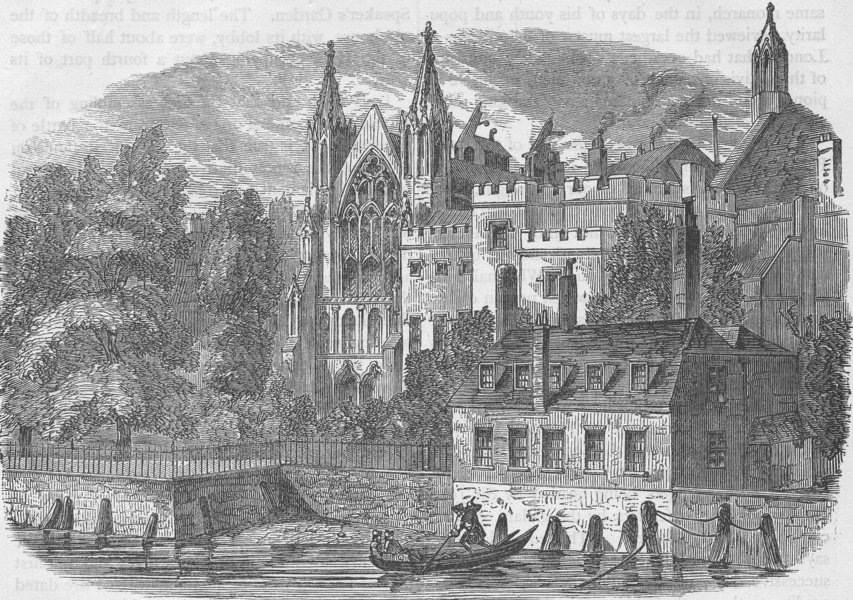 Associate Product ROYAL PALACE OF WESTMINSTER. The Speaker's House from the river, in 1830 c1880