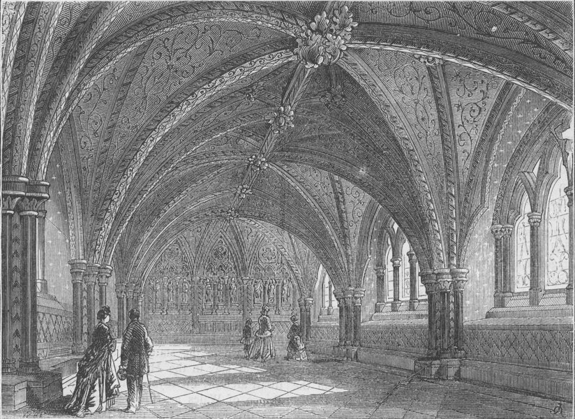 Associate Product THE ROYAL PALACE OF WESTMINSTER. St.Stephen's crypt-Interior. London c1880