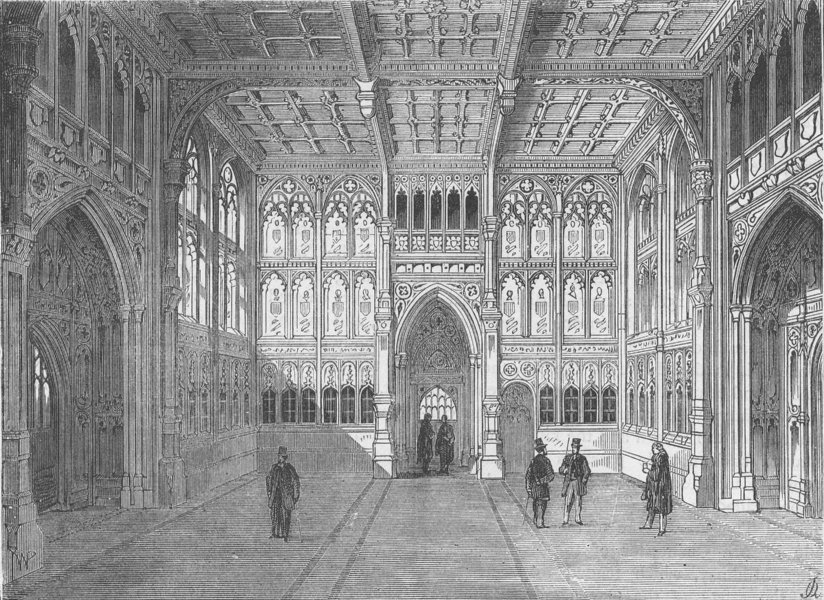 Associate Product ROYAL PALACE OF WESTMINSTER. The lobby of the House of Commons. London c1880