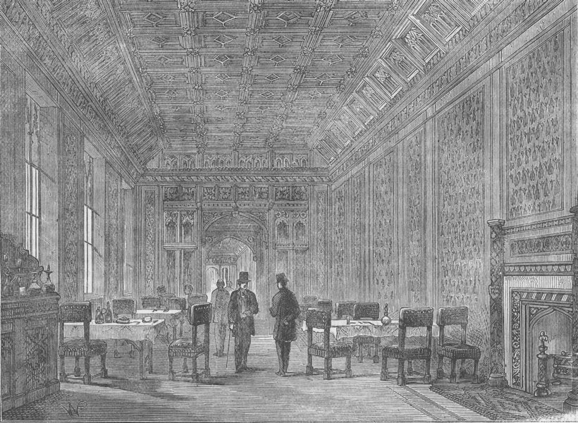 Associate Product ROYAL PALACE OF WESTMINSTER. Dining room of the House of Lords. London c1880