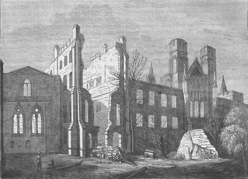 Associate Product ROYAL PALACE OF WESTMINSTER. Houses of Parliament after the fire, in 1834 c1880