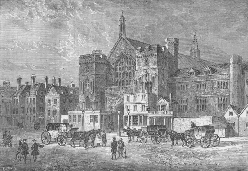 Associate Product WESTMINSTER. Westminster Hall in 1808. London c1880 old antique print picture