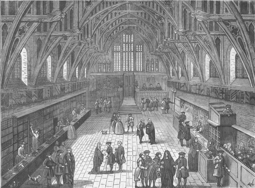 Associate Product WESTMINSTER. Interior of old Westminster Hall in 1797. London c1880 print