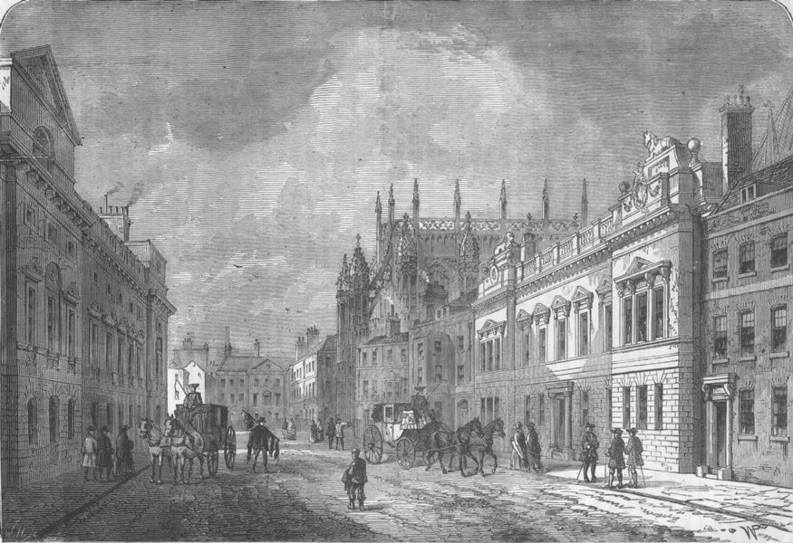 Associate Product WESTMINSTER. Margaret Street,in 1820. London c1880 old antique print picture