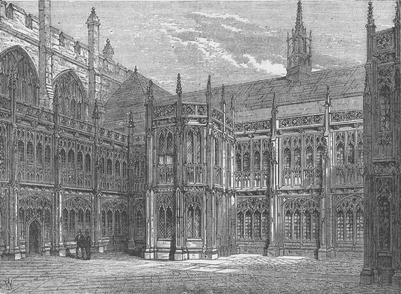 Associate Product WESTMINSTER HALL. St.Stephen's Cloisters. London c1880 old antique print