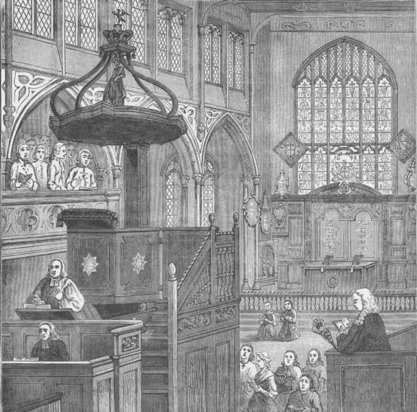 WESTMINSTER. Interior of St.Margaret's church in 1695. London c1880 old print