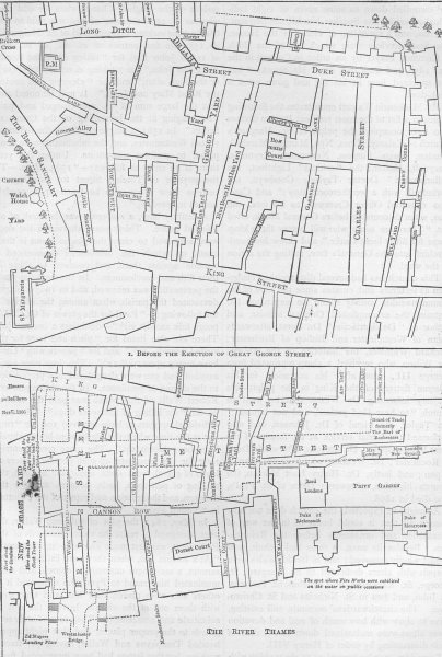 Associate Product WESTMINSTER. Plan of a portion of Westminster between 1734 and 1748 c1880 map