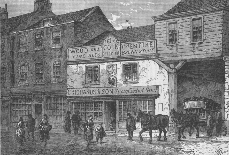 """WESTMINSTER. The old """"Cock"""" tavern. London c1880 antique print picture"""