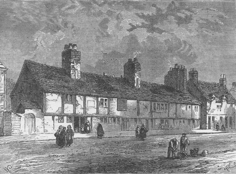 Associate Product WESTMINSTER. Van dun's Almshouses, 1820. London c1880 old antique print