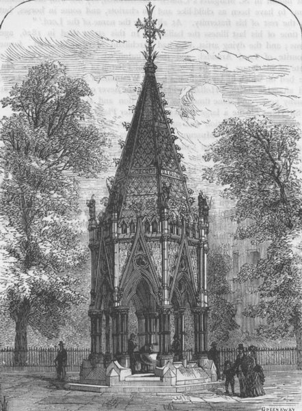 Associate Product MILLBANK. The Buxton Memorial Fountain. London c1880 old antique print picture
