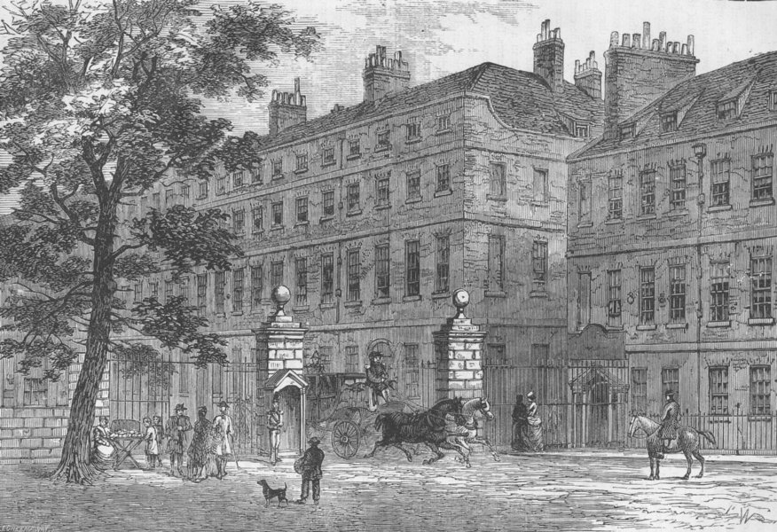 Associate Product WESTMINSTER. Storey's gate, St.James's Park, in 1820. London c1880 old print