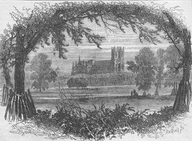 Associate Product ST.JAMES'S PARK. Westminster Abbey from St.James's Park, about 1740 c1880