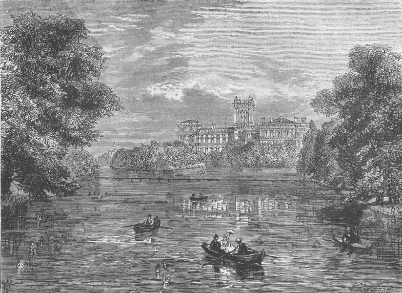 Associate Product ST.JAMES'S PARK. The India Foreign Office, from St.James's Park. London c1880