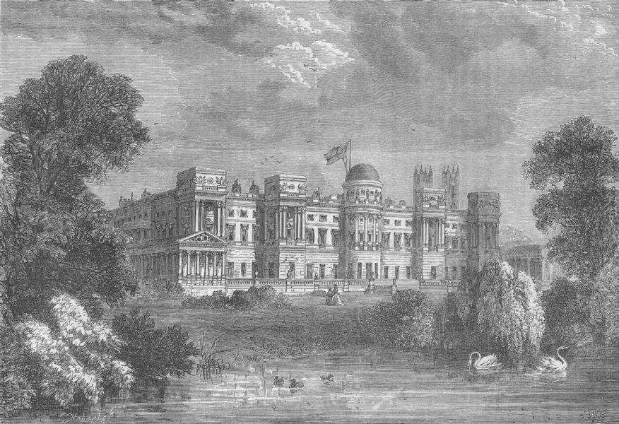 Associate Product BUCKINGHAM PALACE. Buckingham Palace. Garden front. London c1880 old print
