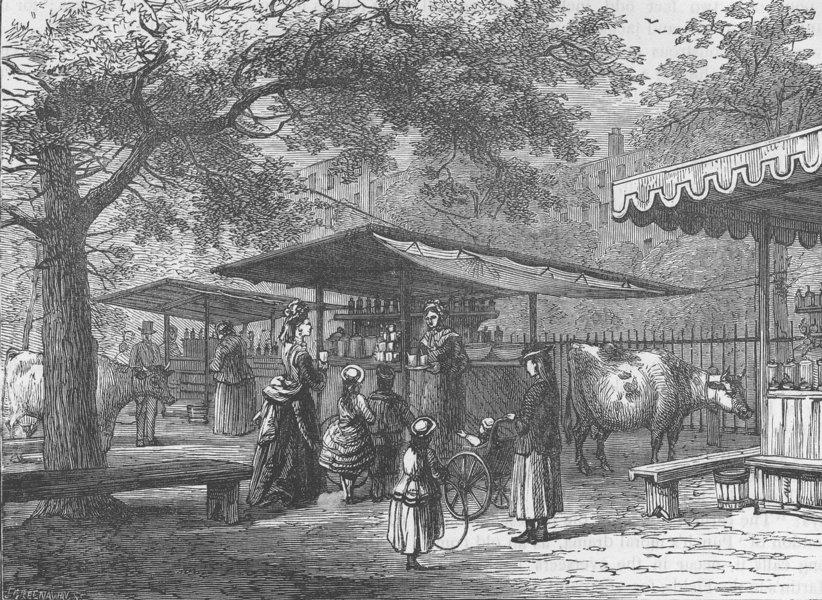 Associate Product ST JAMES'S PARK. Milk Fair. London c1880 old antique vintage print picture