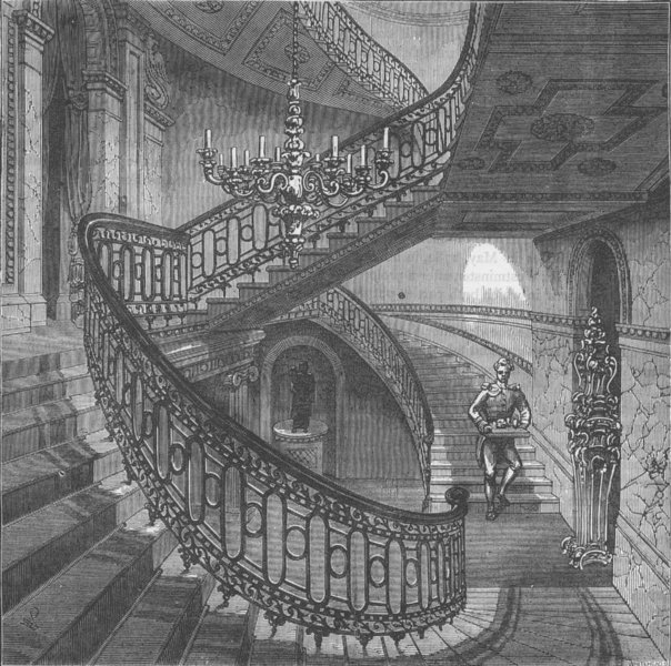 Associate Product CARLTON HOUSE. Grand staircase in Carlton House, 1820. London c1880 old print