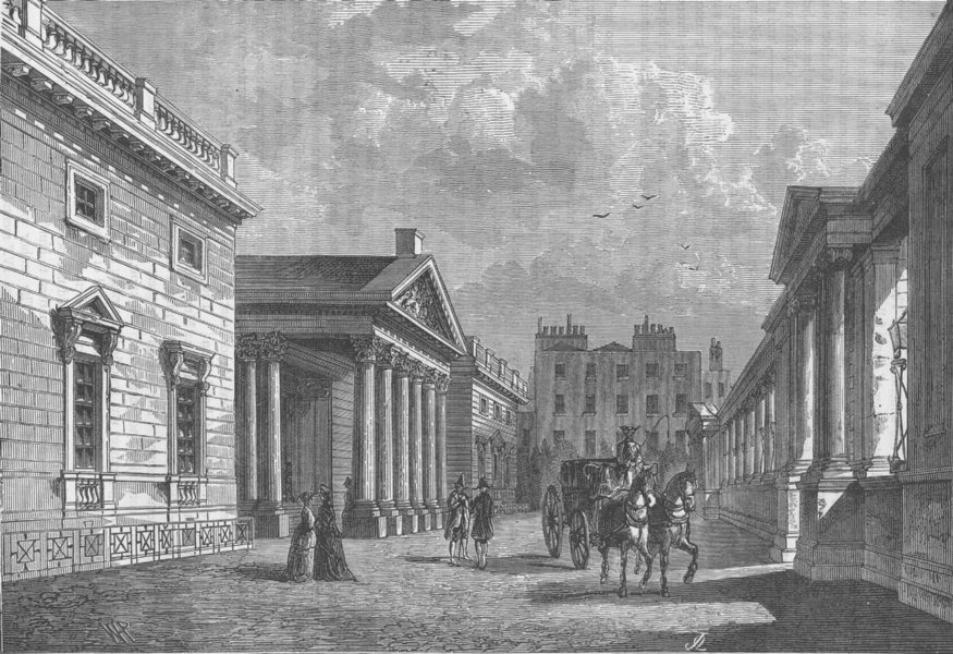 Associate Product CARLTON HOUSE. Front of Carlton House, 1820. London c1880 old antique print