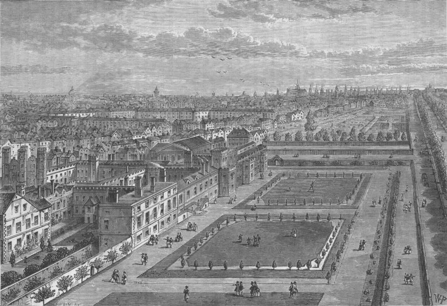 Associate Product ST.JAMES'S PALACE. View of the palace before the great fire of London c1880
