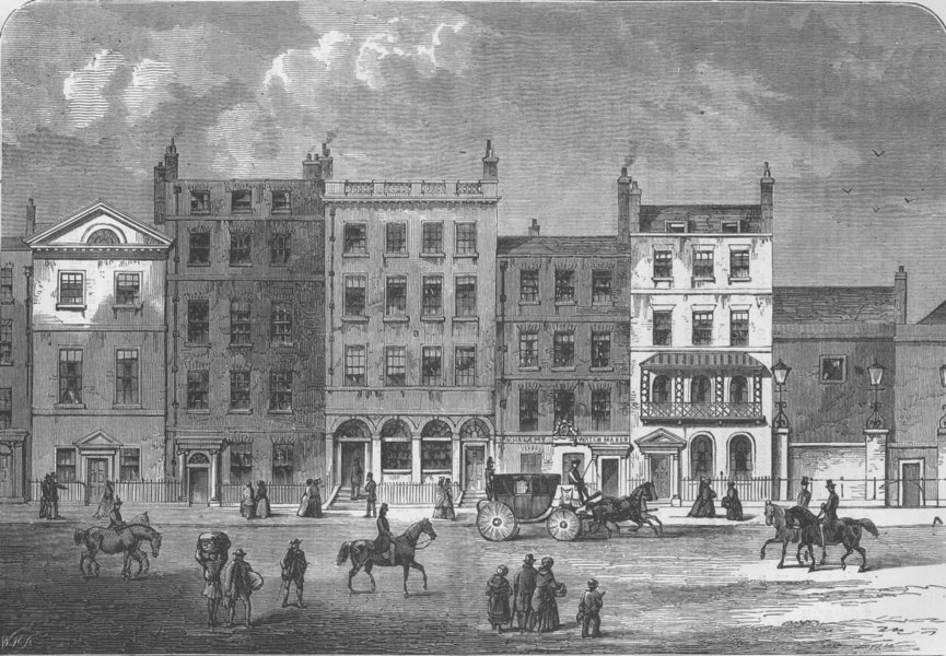 Associate Product PALL MALL. View of old houses in about 1830. London c1880 antique print
