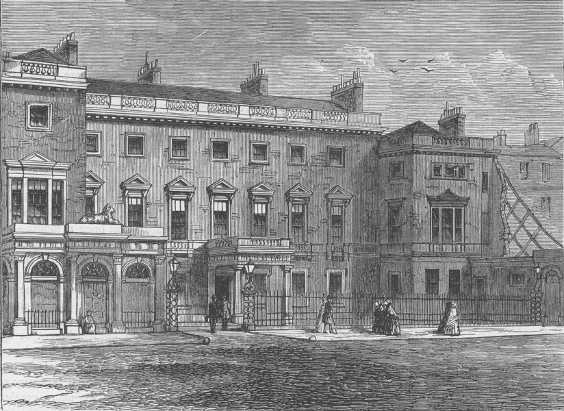 Associate Product PALL MALL. The Ordnance Office, Pall Mall, 1850. London c1880 old print