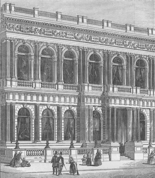 Associate Product PALL MALL. Entrance to the Carlton Club. London c1880 old antique print
