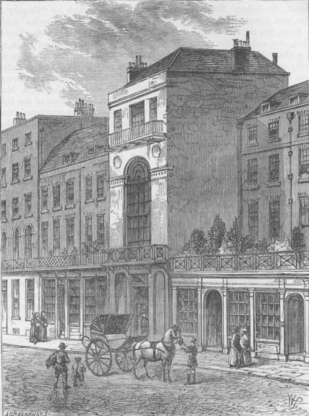 """Associate Product ST.JAMES'S STREET. The """"Thatched House"""" tavern. London c1880 old antique print"""