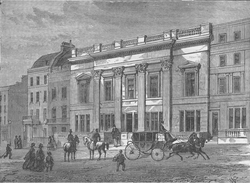 Associate Product ST.JAMES'S STREET. Crockford's Club, about 1840. London c1880 old print